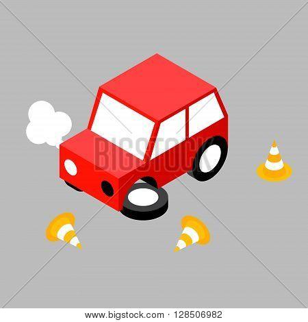 Car crash cone.Vector illustration. EPS 10. No transparency. No gradients.