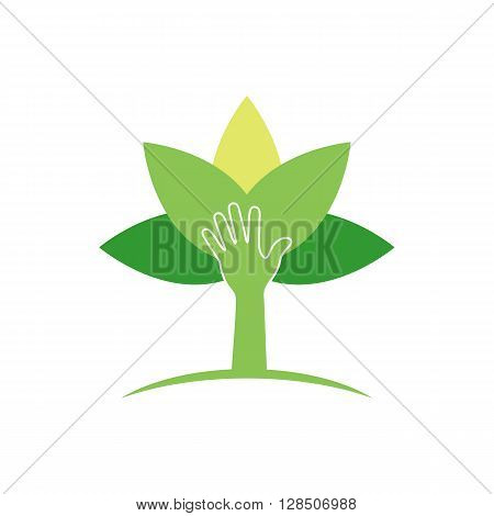 Plant protection creative symbol concept. Modern agricultural technology logo design template. Shield shape with plant in negative space logo layout.