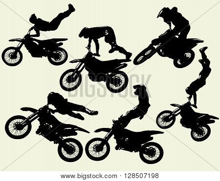 motocross jumping riders, freestyle, isolated silhouettes vector set