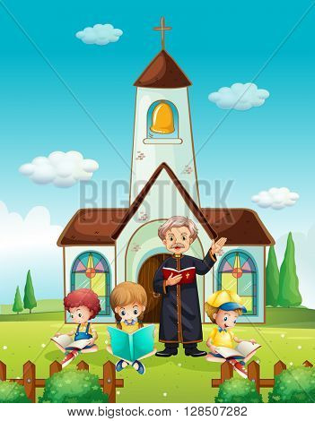 Priest and children at church illustration