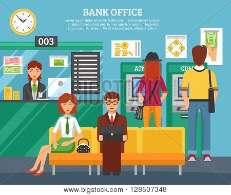 People inside bank office design concept with boy and girl at atm and terminal and customers waiting servicing flat vector illustration