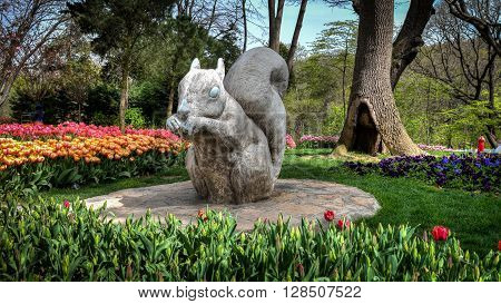 Istanbul, Turkey, 06 April 2013: The Khedive Palace, or Hidiv Kasri in Turkish, is the centerpiece of a park with paved paths and restaurants and cafes set amid rose gardens and pine-lined trails. The grounds are decorated with wacky giant squirrel sculpt