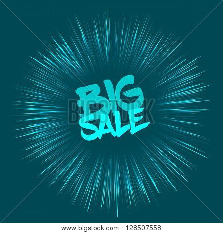 Vector Big sale concept with fireworks effect. Big sale template in retro style on blue background. Nice Big sale card template for various use especially for discount events.