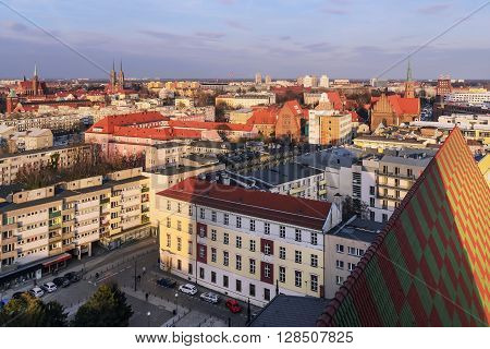 Landscape of Wroc?aw city during sunset Poland Europe.