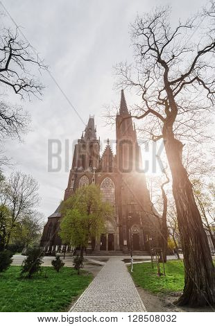 The Gothic Church is flooded with light in the Tumski island Wroclaw Poland