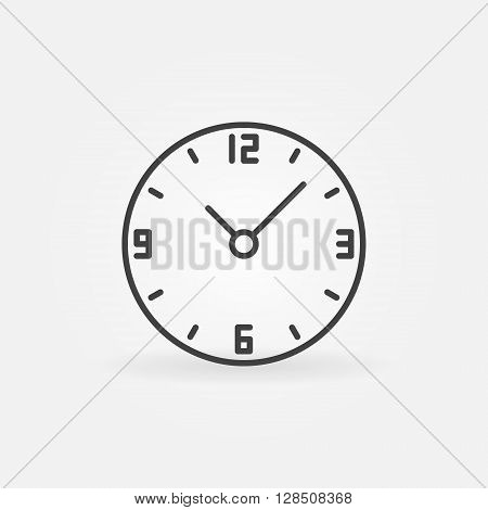 Clock round icon - vector minimal clock linear sign. Simple time concept symbol