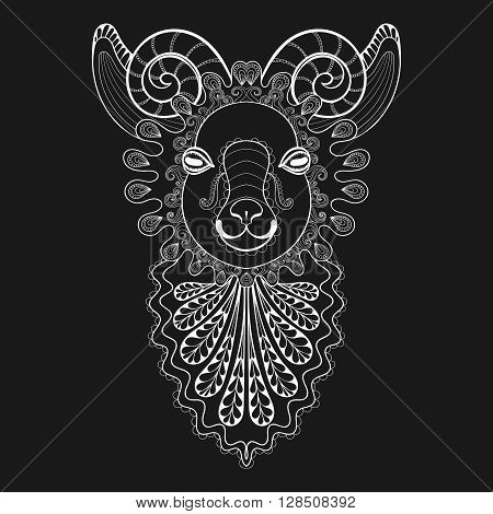 Vector zentangle Ram Head illustration, white Goat print for adult anti stress coloring page. Hand drawn artistically ornamental patterned decorative Sheep. Animal collection for tattoo design