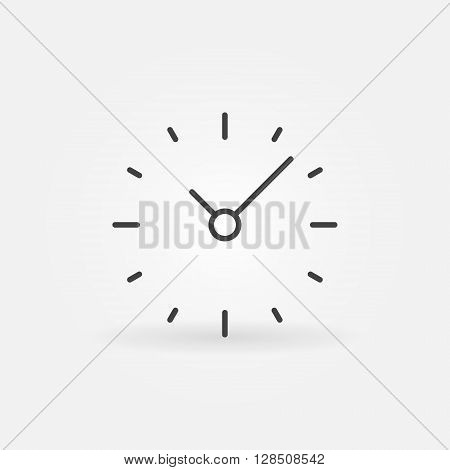 Simple clock icon - vector minimal clock sign in thin line style. Minimal time concept symbol