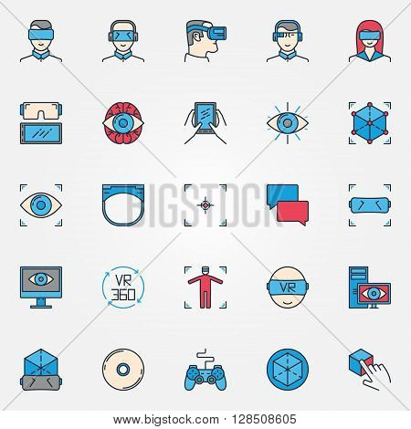Virtual reality icons - vector set of colorful VR devices symbols or innovation virtual reality signs