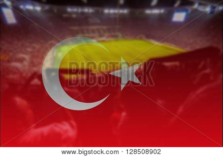 soccer football  stadium with blending Turkey flag