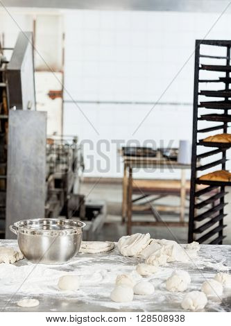 Dough Balls On Table In Bakery