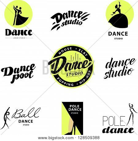 Vector flat dance studio logo. Dance icon. Dancing icon. Human icon. Stamp. Human figure. Dancing lady. Ballet. Pole dance. Ball room dance. Dance school insignia. Modern street dance.