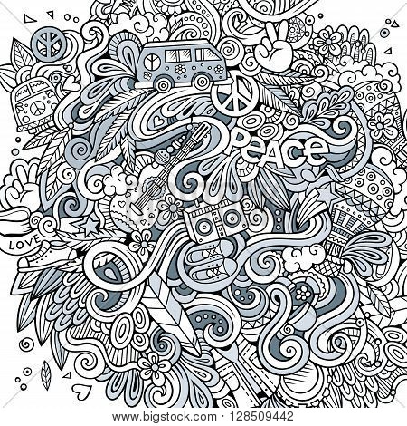 Cartoon hand-drawn doodles hippie illustration. Line art detailed, with lots of objects vector background