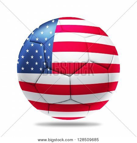 3D soccer ball with team flag isolated on white