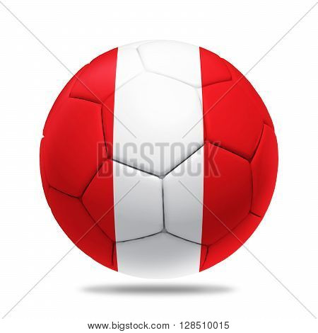 3D soccer ball with Peru team flag isolated on white
