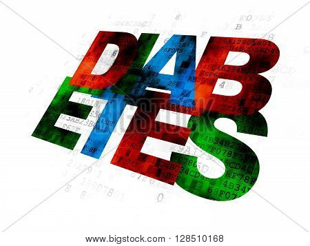 Health concept: Pixelated multicolor text Diabetes on Digital background