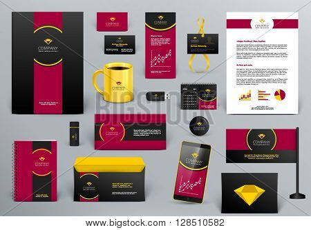 Professional  luxury branding design kit for jewelry shop, hotel, real estate or  law firm. Gold/red/black style. Premium corporate identity template. Business stationery mock-up with logo.
