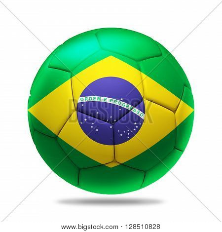 3D Illustration soccer ball with Brazil team flag, isolated on white