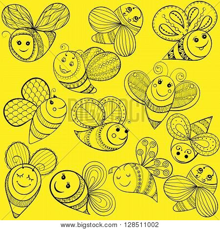 Vector bees for adult coloring page. Hand drawn funny magic yellow bee for t-shirt print in zentangle, tattoo design. Patterned doodle with fairy tail insects. Happy flying bee.