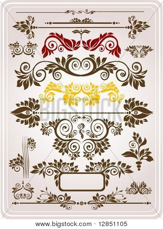 Abstract floral pattern. Retro elements with ornaments for background. Part 8.