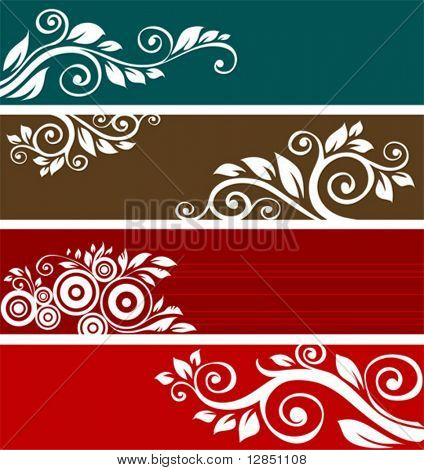 Abstract floral patterns for design. Retro ornament for background.