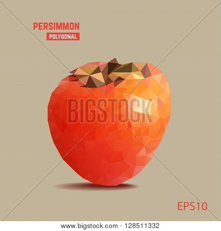 Polygonal orange persimmon on light background. Vector picture.