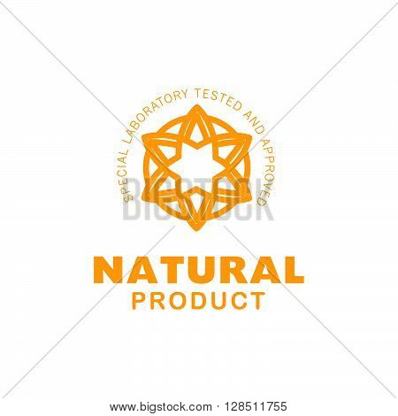 Vector flat eco product emblem. Ecological cosmetic sign. Eco badge. Natural product line. Nature certificate quality. Leaf icon. Flower icon. Eco symbol. Natural cosmetics. Eco friendly logo. Bio organic product.