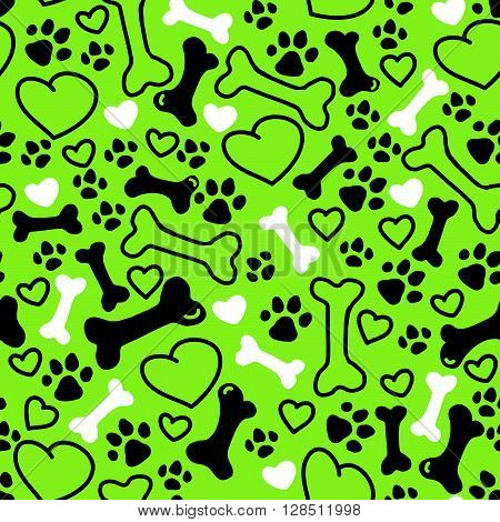 Vector seamless flat hand drawn dog pattern with bones, hearts, paw trace different sizes isolated on green background. Packaging paper design, pet food accessories package.