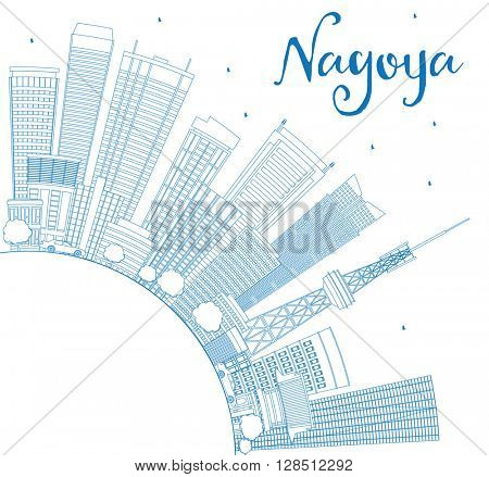 Outline Nagoya Skyline with Blue Buildings and Copy Space. Business and Tourism Concept with Modern Buildings. Image for Presentation, Banner, Placard or Web Site.