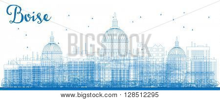 Outline a Skyline with Blue Buildings. Business travel and tourism concept with modern buildings. Image for presentation, banner, placard and web site.