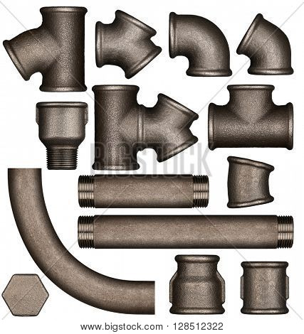 Various metal plumbing pipes and joints set adapted for mockup design.