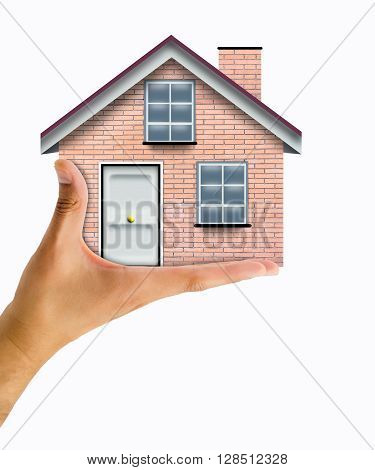 Close up conceptual shot of a man holding a house