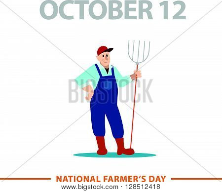 Vector flat simple friendly character isolated. Text message. Profession human icon. Person portrait. Farmer icon.