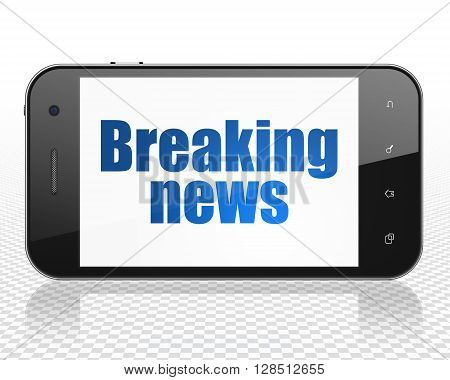 News concept: Smartphone with blue text Breaking News on display, 3D rendering