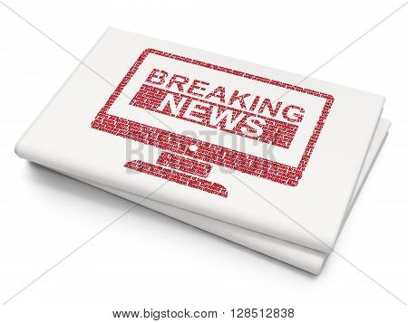 News concept: Pixelated red Breaking News On Screen icon on Blank Newspaper background, 3D rendering