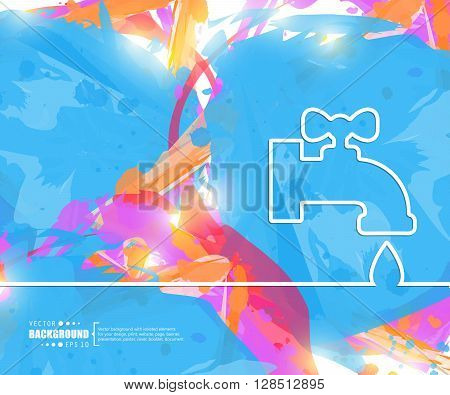 Creative vector faucet. Art illustration template background. For presentation, layout, brochure, logo, page, print, banner, poster, cover, booklet, business infographic, wallpaper, sign, flyer.