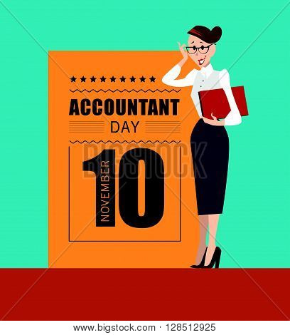 Vector flat simple friendly people character. Accountant day.