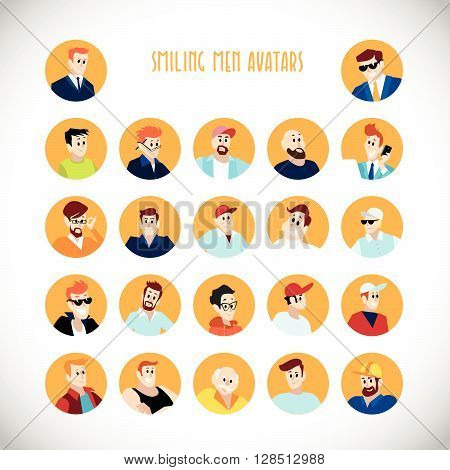 Vector flat people portraits. Smiling human icon. Human avatar. Simple cute characters. Cute friendly people. Profession icon.