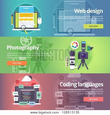Web design. Art of digital photograhy. Coding languages. Programming skills. Digital technologies. Website development. Technological and digital production banners set. Vector design concept.