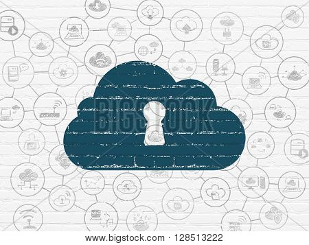 Cloud networking concept: Painted blue Cloud With Keyhole icon on White Brick wall background with Scheme Of Hand Drawn Cloud Technology Icons