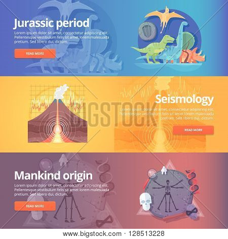 Jurassic period. Dinosaur age. Seismography science. Volcano erruption. Mankind origin. Anthropology. Science of life. Earthquake studying. Education and science banners set. Vector design concept.