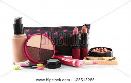 Makeup set with beautician, false eyelashes and cosmetics, isolated on white