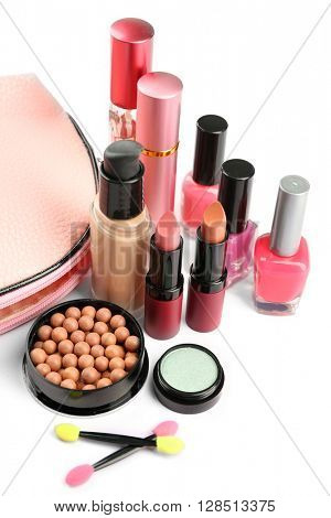 Makeup set with beautician, brushes and cosmetics on white background