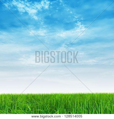 3D illustration of a conceptual green, fresh and natural grass field or lawn, blue sky background in spring or summer