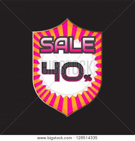 Sale discount labels. Special offer price signs. 40 percent off reduction symbol.