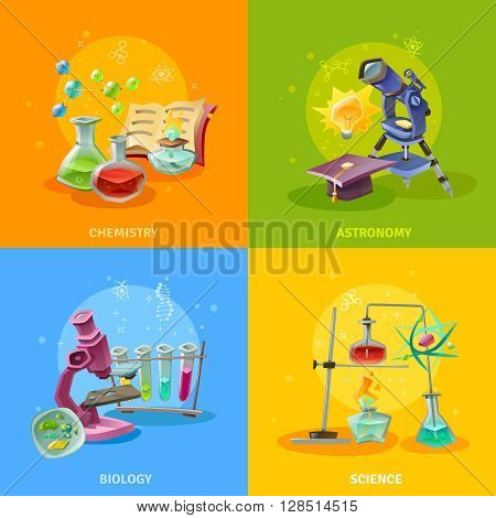 Scientific disciplines colorful concept astronomy chemistry biology and elements of physics isolated vector illustration