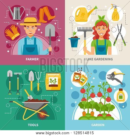 Farmers gardening tools plants and accessories concept 4 flat icons square composition banner abstract isolated vector illustration