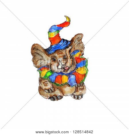 Watercolor hand drawn  isolated baby elephant  in party hat