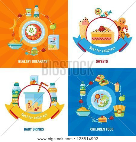 Healthy daily food choice for babies and children 4 flat icons square banner abstract isolated vector illustration