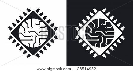 Microchip icon vector. Two-tone version on black and white background
